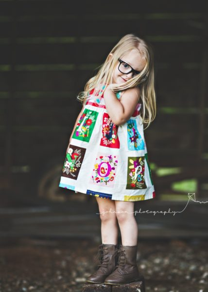 Granny square child's dress from All the Numbers made in Boston USA