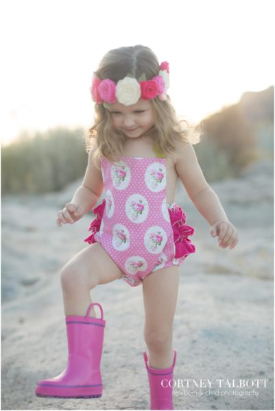 Pink floral polka dot sunsuit from All the Numbers made in Boston USA
