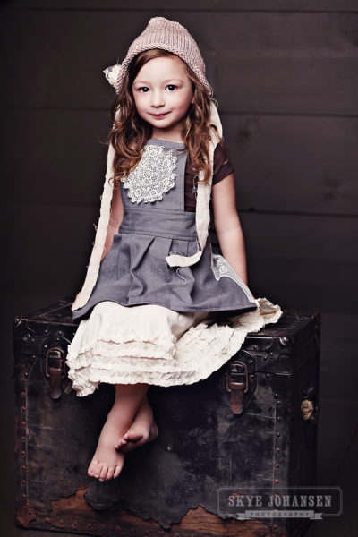 Grey pinafore child's dress from All the Numbers made in Boston USA
